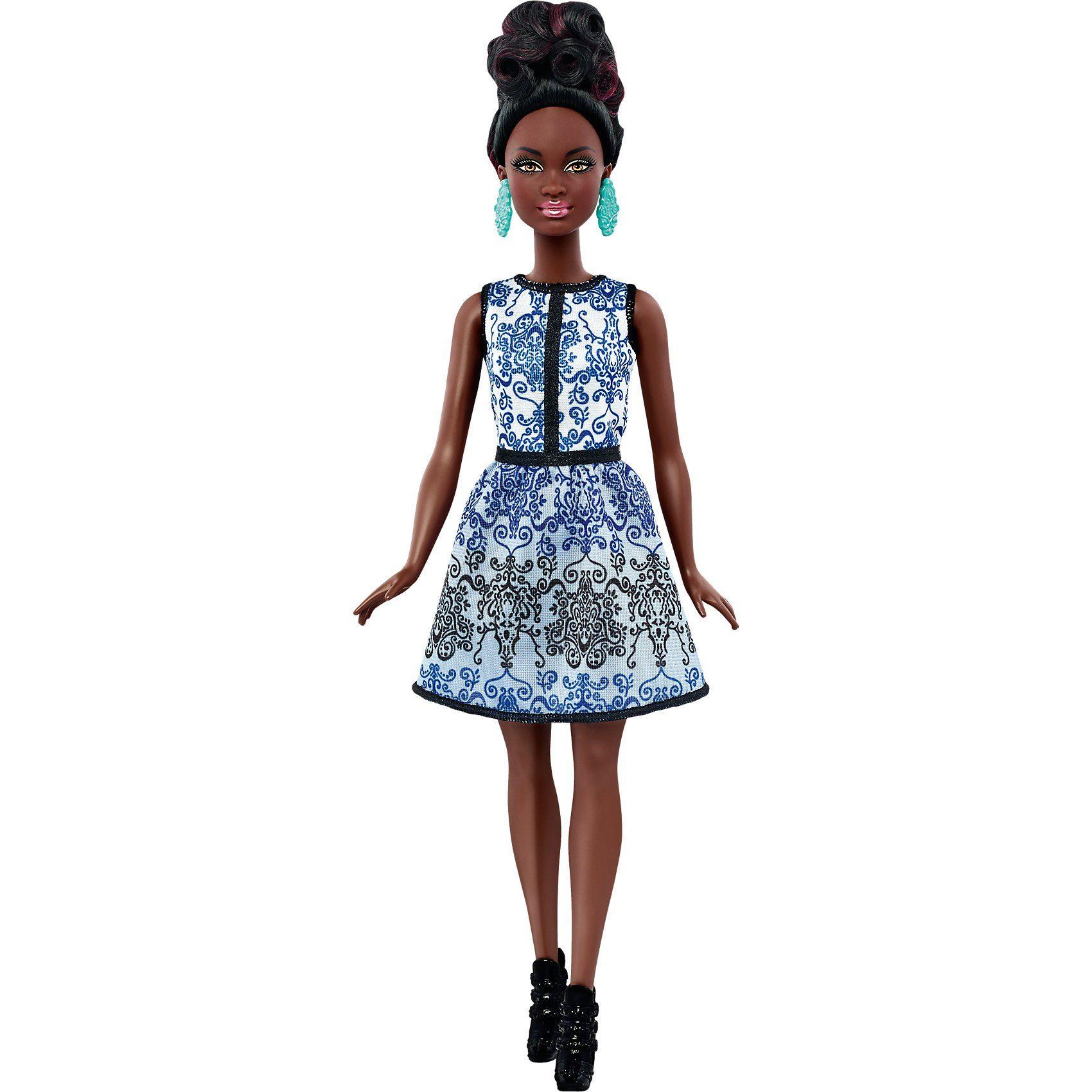 Mattel Fashionista im blauen Brokat-Kleid