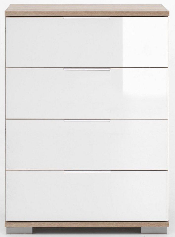 Wimex Nachttisch in struktureichefarben hell/Weißglas