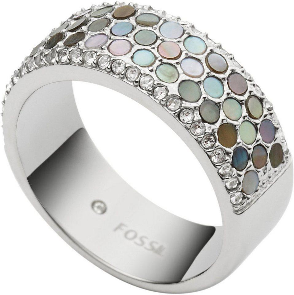 Fossil Ring mit Perlmutt und Glassteinen, »Vintage Glitz, JF02313040« in silberfarben