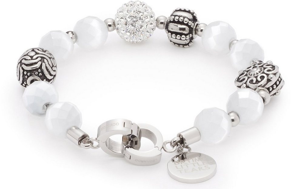 Jewels by Leonardo Armband mit Glasstein, »darlin's charisma weiß, 015899« in silberfarben-weiß