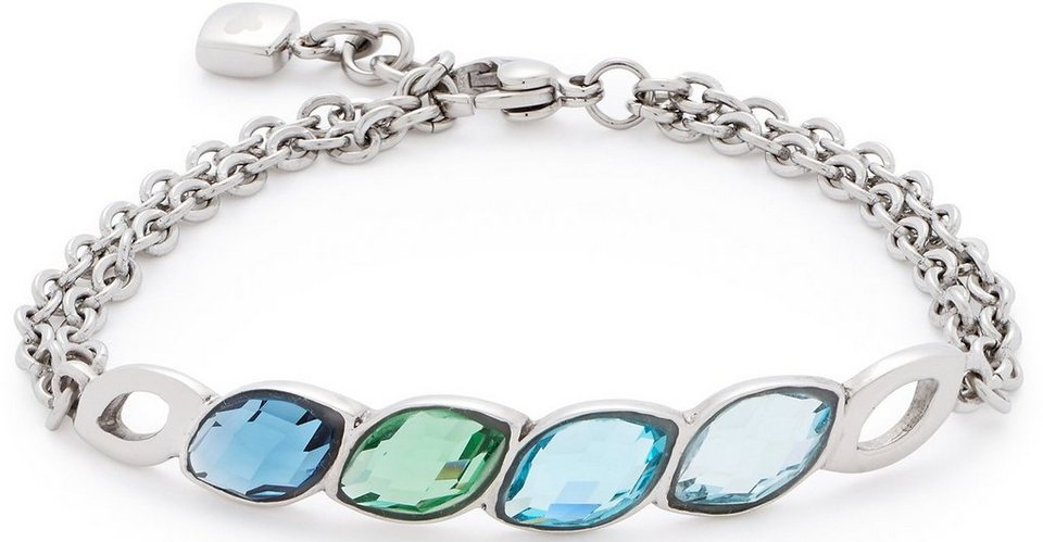 Jewels by Leonardo Armband mit Glassteinen, »lamina, 015838« in silberfarben-blau-grün