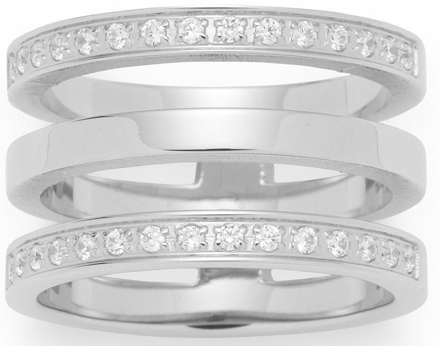 Jewels by Leonardo Ring mit Kristallsteinen, »minimo, 015864, 015865, 015866« in silberfarben
