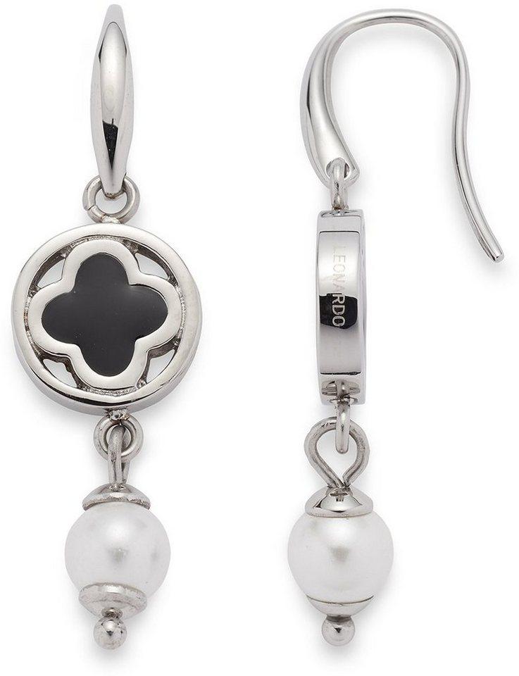 Jewels by Leonardo Paar Ohrhaken mit Muschelperlen, »opulento, 015828« in silberfarben-schwarz