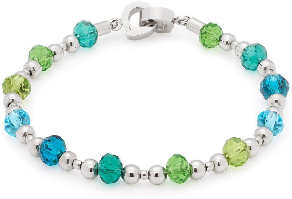 Jewels by Leonardo Armband mit Glassteinen, »darlin's capri, 015923« in silberfarben-blau-grün
