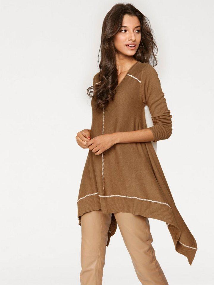 V-Pullover in camel/ecru
