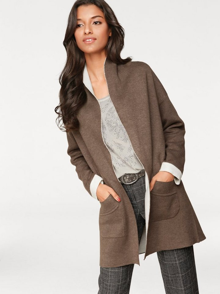 PATRIZIA DINI by Heine Longstrickjacke mit Wolle in taupe