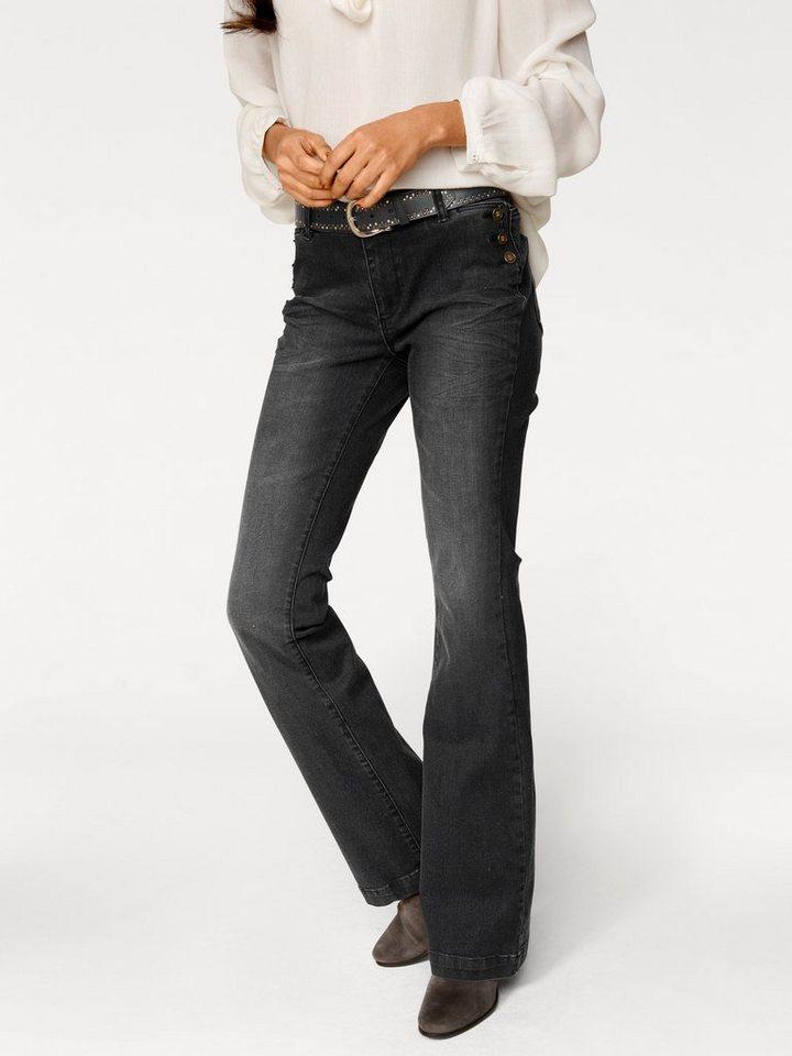 Flared-Jeans in black denim