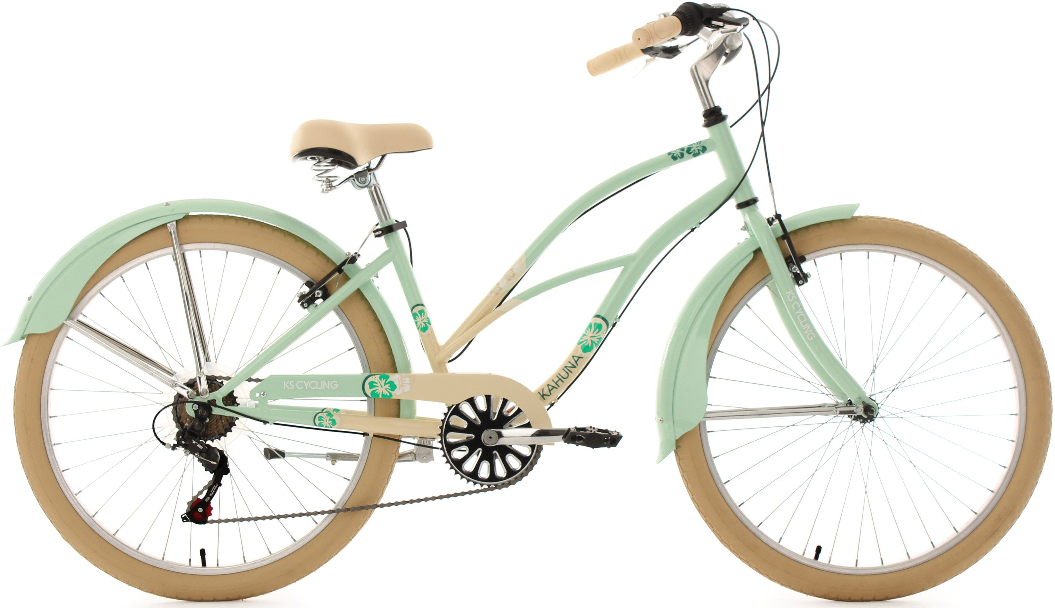 KS Cycling Beachcruiser Damen, 26 Zoll, beige-mint, 6 Gang-Kettenschaltung, »Kahuna«