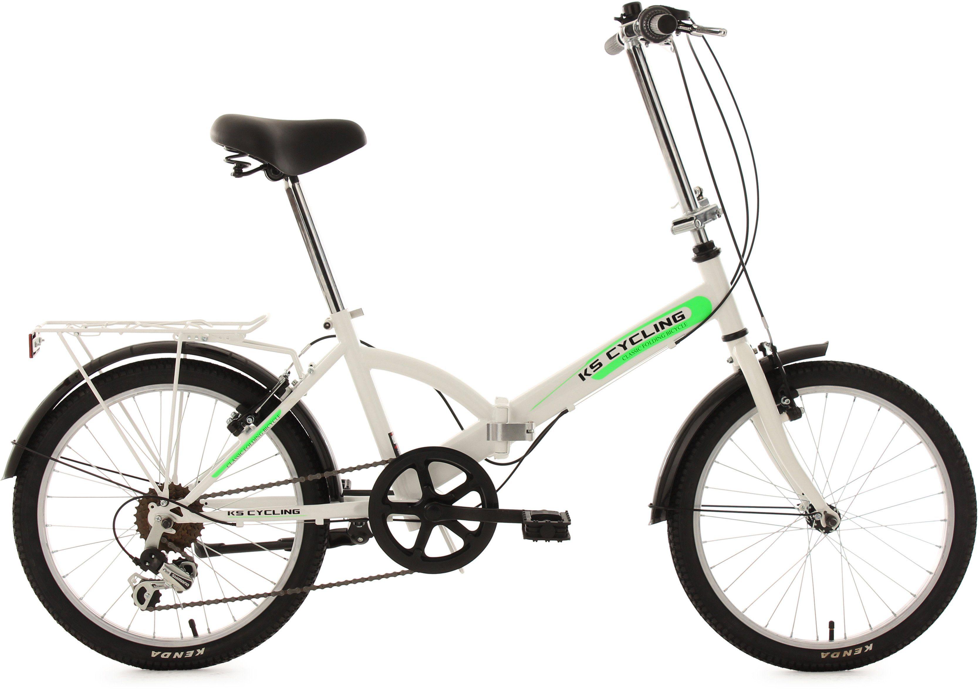 KS Cycling Faltrad, 20 Zoll, weiß, 6 Gang Kettenschaltung, »Classic«