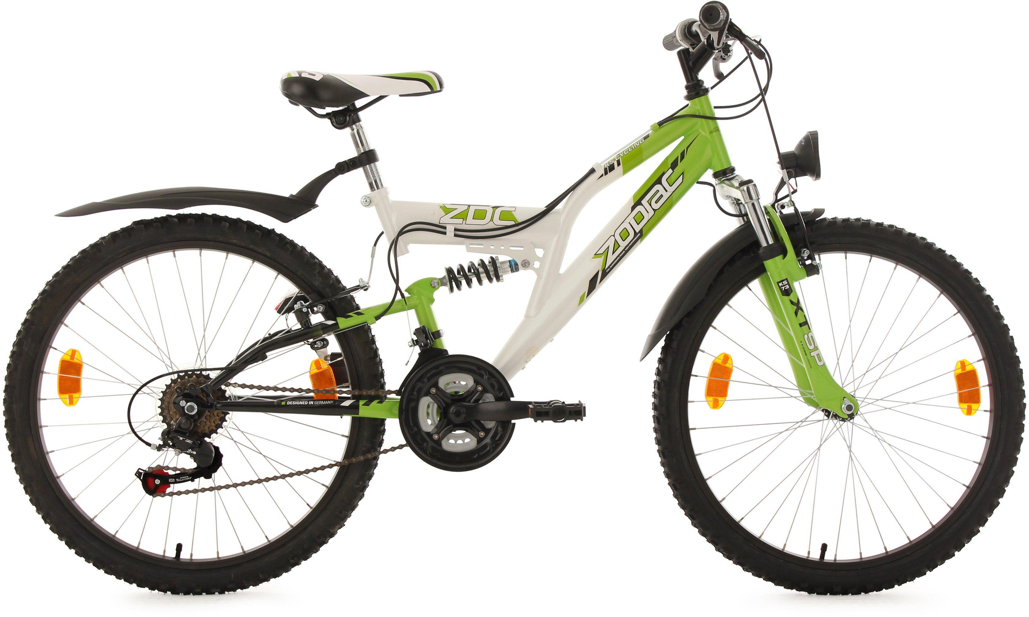 KS Cycling Mountainbike, 24 Zoll, weiß-grün, Shimano 18 Gang-Kettenschaltung, »Zodiac«