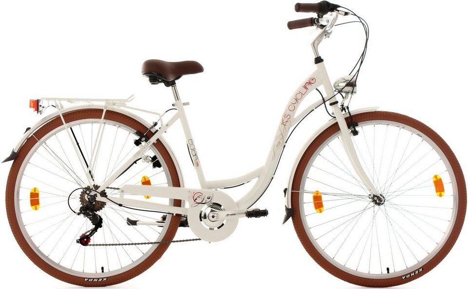 KS Cycling Damen-Cityrad, 28 Zoll, weiß, Shimano 6 Gang-Kettenschaltung, »Eden« in weiß