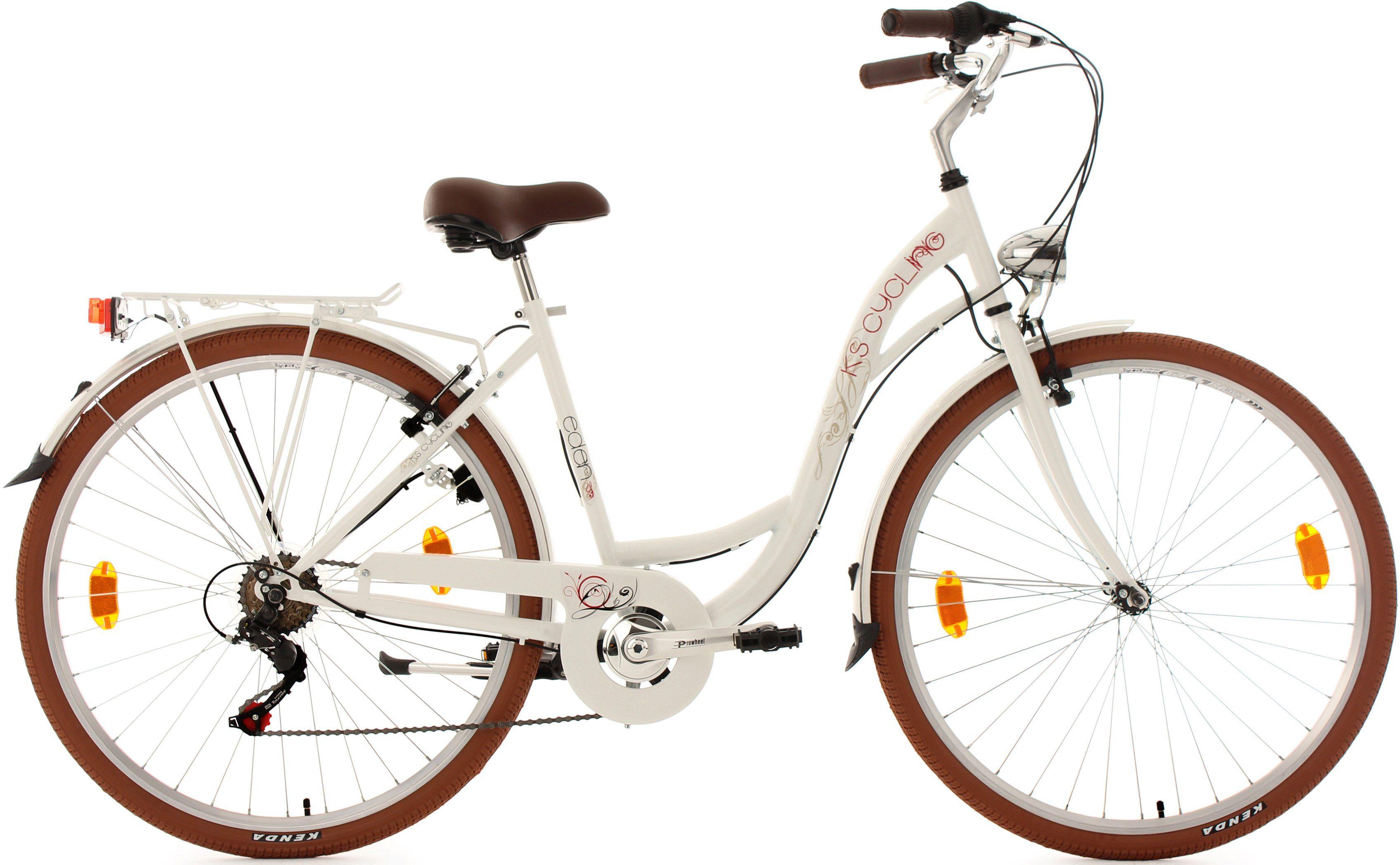 KS Cycling Damen-Cityrad, 28 Zoll, weiß, Shimano 6 Gang-Kettenschaltung, »Eden«