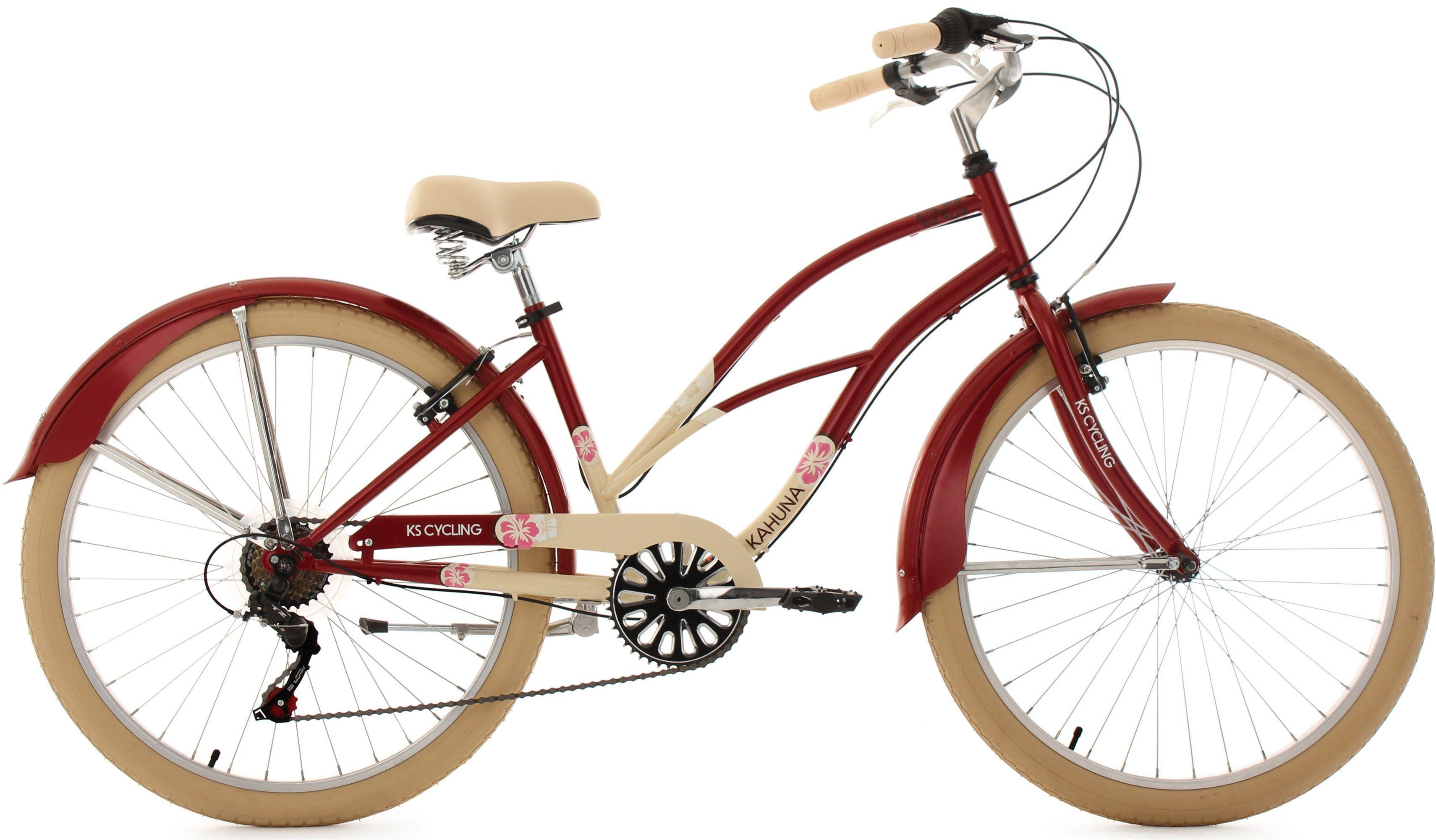 KS Cycling Beachcruiser Damen, 26 Zoll, beige-rot, 6 Gang-Kettenschaltung, »Kahuna«