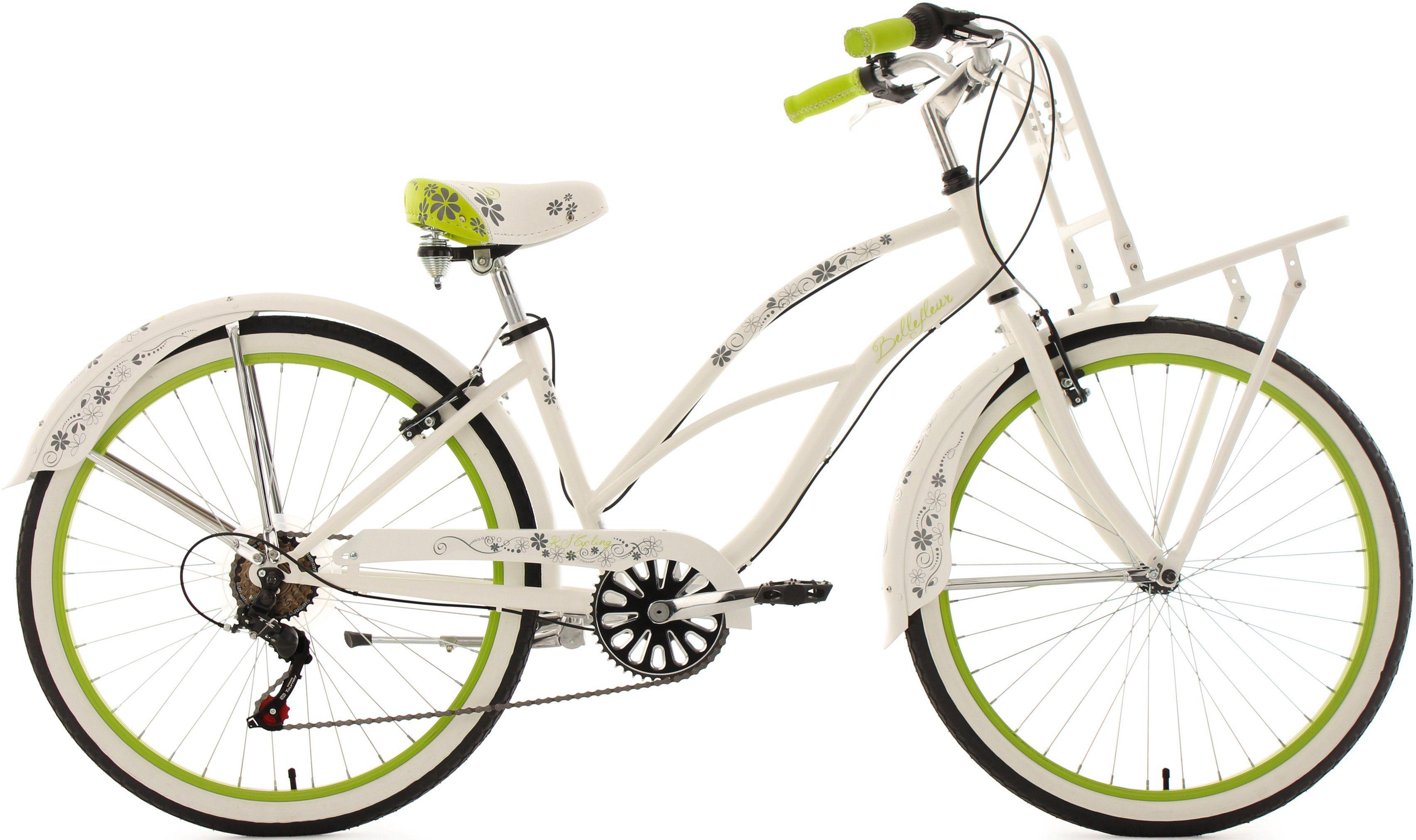 KS Cycling Cargo-Beachcruiser Damen, 26 Zoll, weiß-grün, 6 Gang-Kettenschaltung, »Bellefleur«