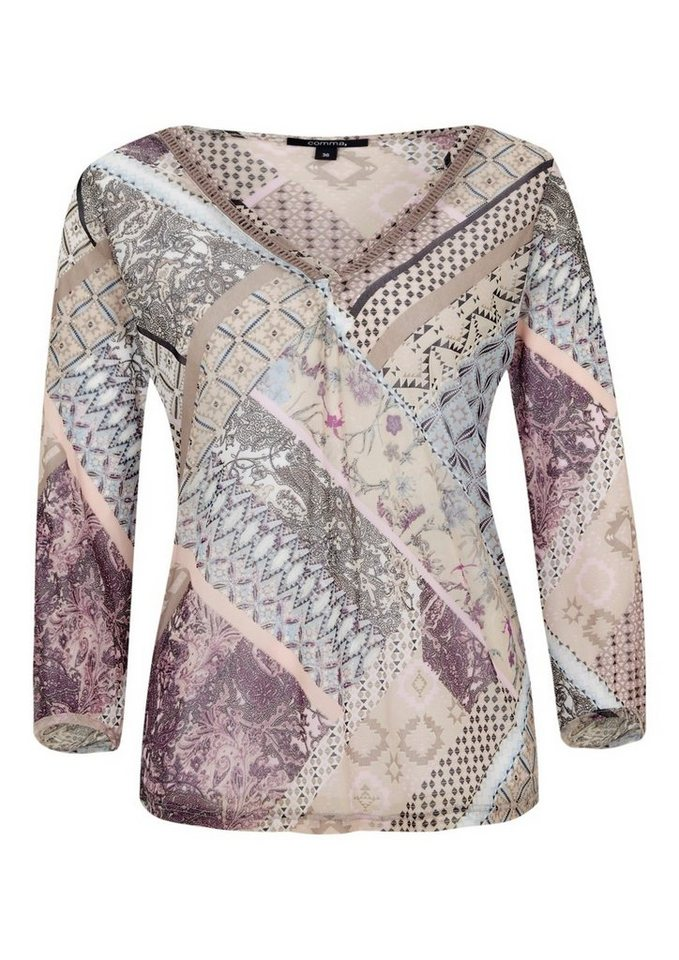 COMMA Leichtes Mesh-Longsleeve im Mustermix in rose AOP patchwork