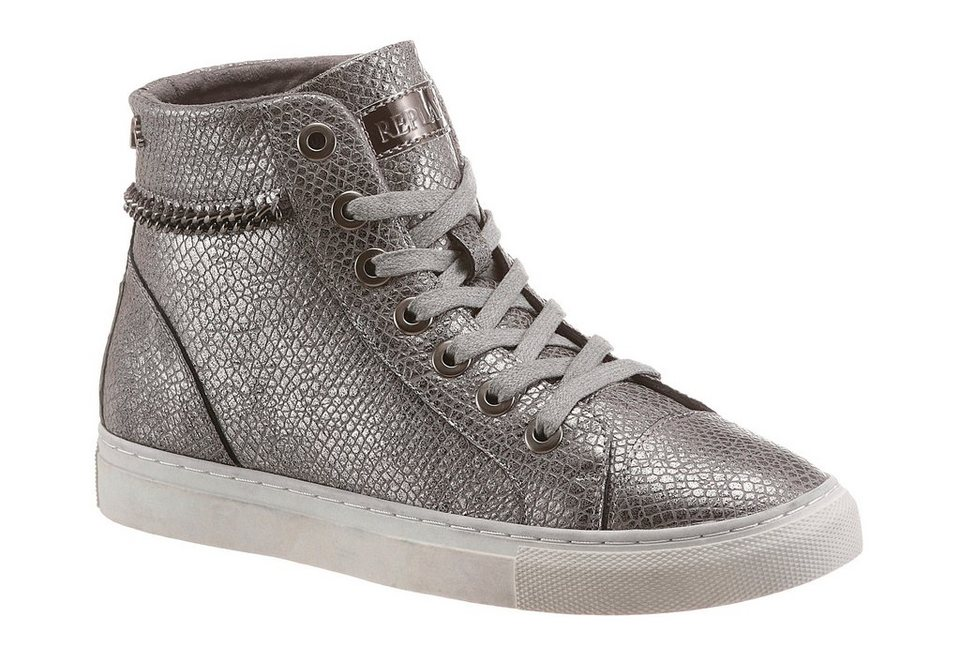 Replay Sneaker im schimmernden Look in silberfarben