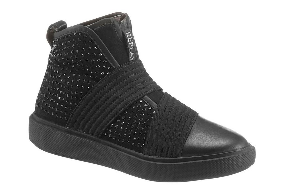 Replay Sneaker mit Ziersteinchen in schwarz