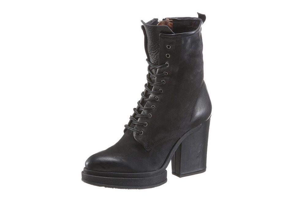 A.S.98 High-Heel-Stiefelette mit Schnürung in schwarz