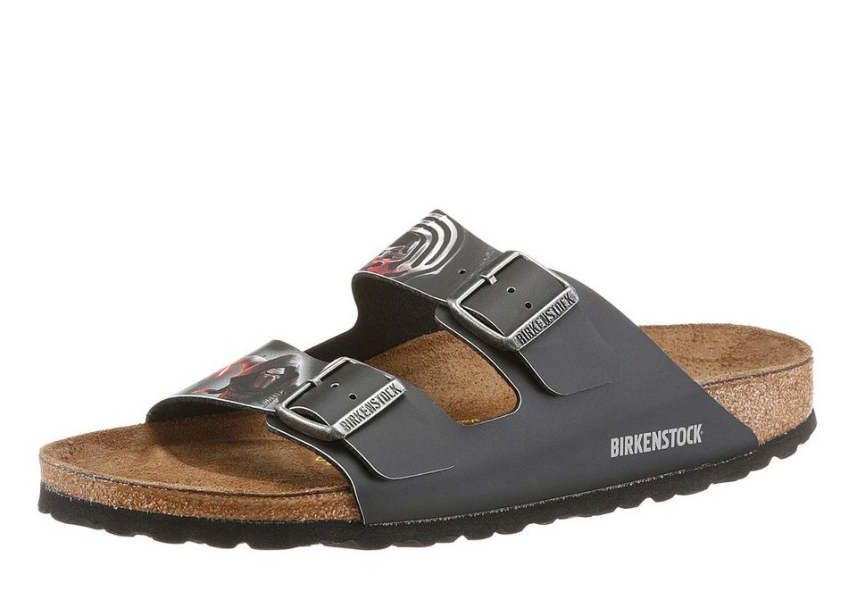 Birkenstock »ARIZONA KYLO« Pantolette in schwarz-rot-silberfarben