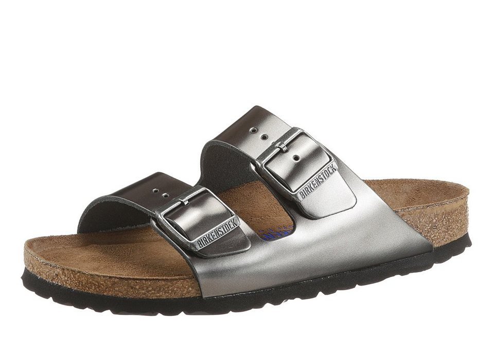 Birkenstock »ARIZONA SFB METALLIC« Pantolette in anthrazit-glänzend