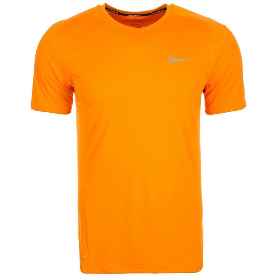 NIKE Miler Laufshirt Herren in orange / silber