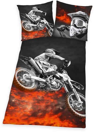 Jugendbettwäsche »Motorcross«, Herding Young Collection, mit Motocrossrad
