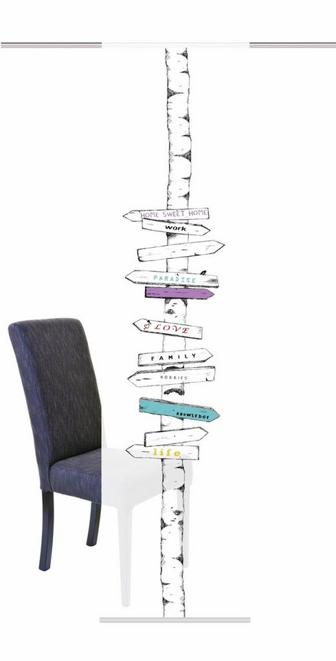Schiebegardine, Home Wohnideen, »SIGNS«, mit Klettband (1 Stück mit Zubehör) in multicolor