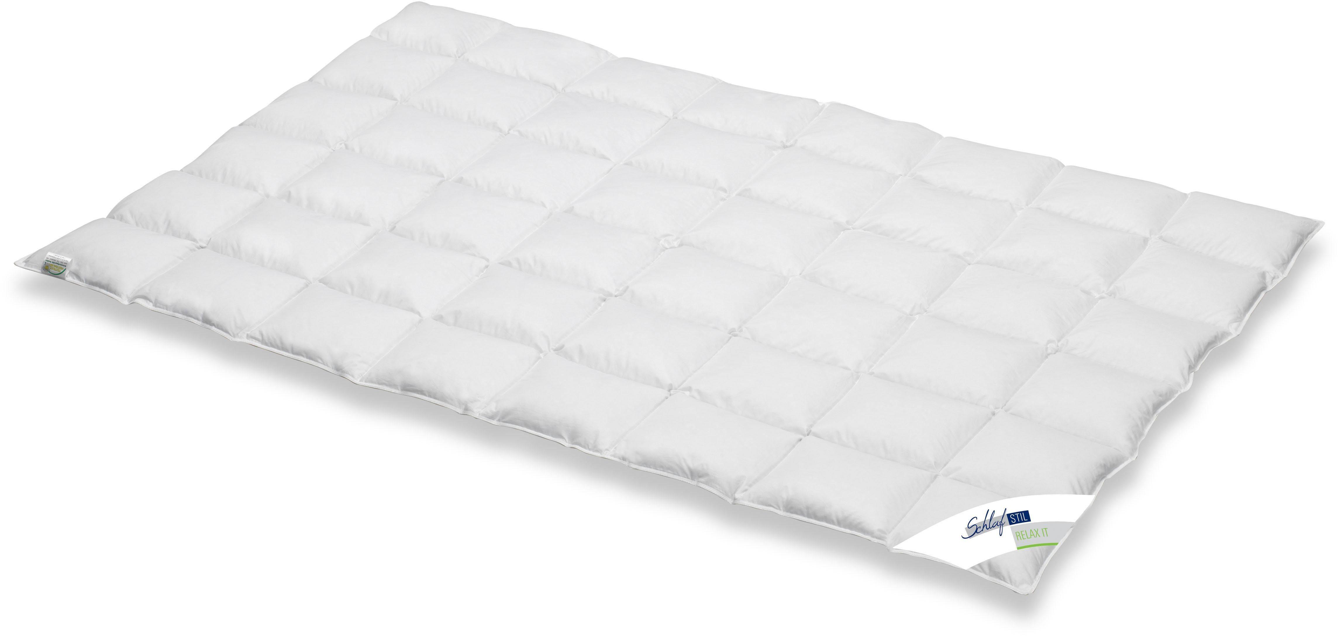 Daunenbettdecke, »Relax It«, Schlafstil, leicht, Füllung: 60% Daunen, 40% Federn, Bezug: 100% Baumwolle, (1-tlg)