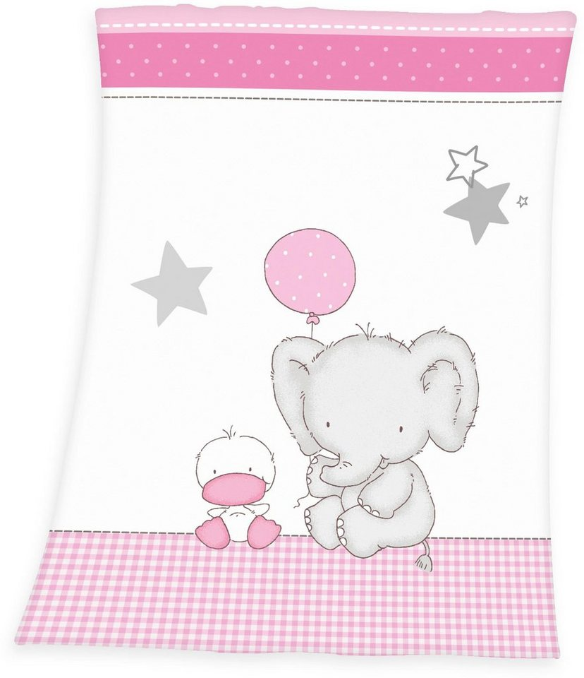 Babydecke, baby best®, »Fynn Elefant«, mit Elefant & Ente in weiß-rosa