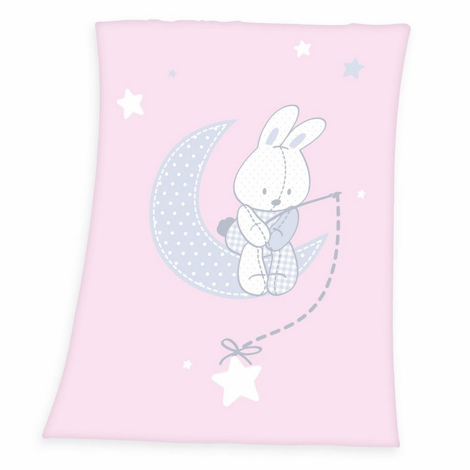 Babydecke, baby best®, »Fynn Hase«, mit süßem Häschen in rosa