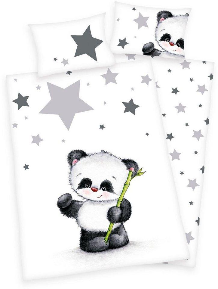 Babybettwäsche, Baby Best®, »Jana Panda«, mit Panda in weiß