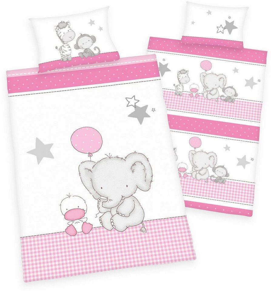 Babybettwäsche, baby best®, »Jana Elefant«, mit Tieren in weiß-rosa