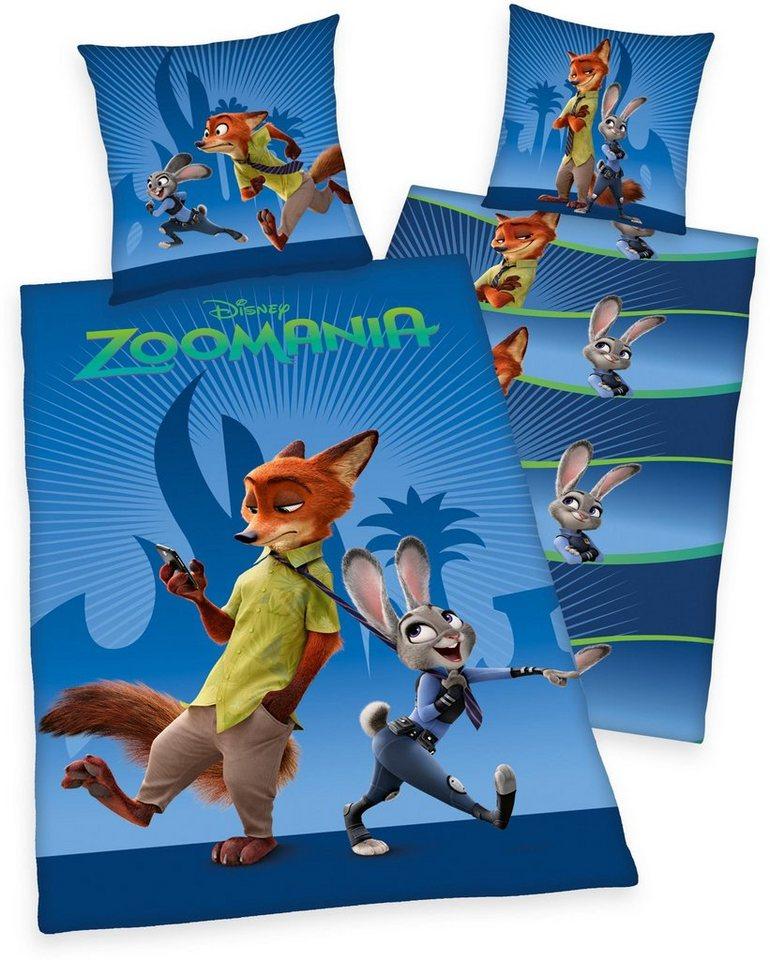 Kinderbettwäsche, Disney, »Zoomania«, mit Fuchs & Hase in blau