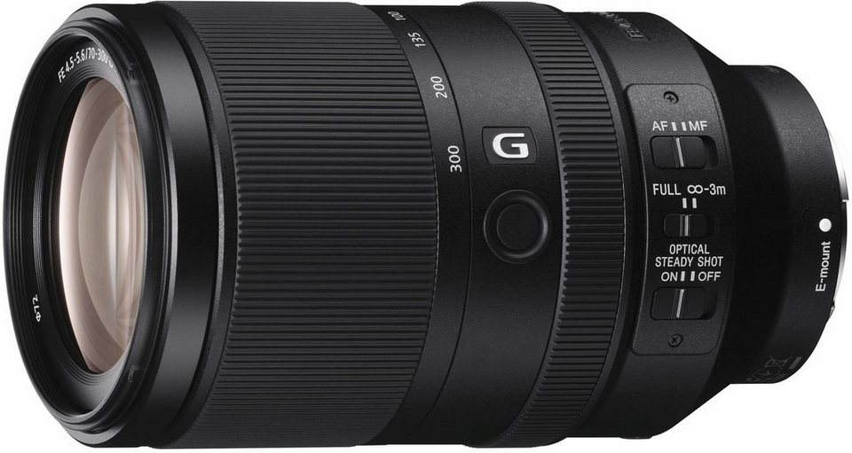 Sony SEL-70300G, E-Mount Vollformat-Telezoom Objektiv, 70-300mm, F4,5 - 5,6 G OSS, G-Serie in schwarz