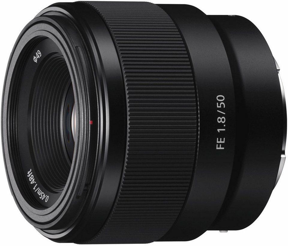 Sony SEL-50F18F, Lichtstarkes 50mm E-Mount Vollformat Objektiv mit F1,8, Festbrennweite in schwarz