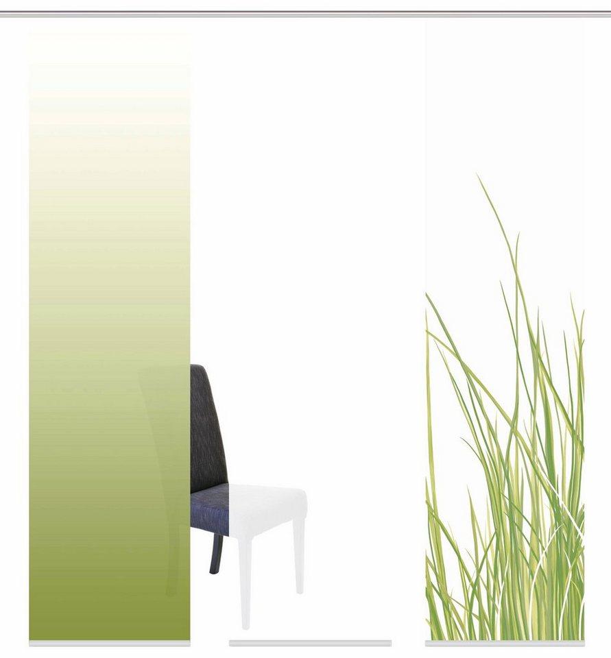 Schiebegardine, Home Wohnideen, »BELFORT«, mit Klettband, Mehrfachsets (mit Zubehör) in grün