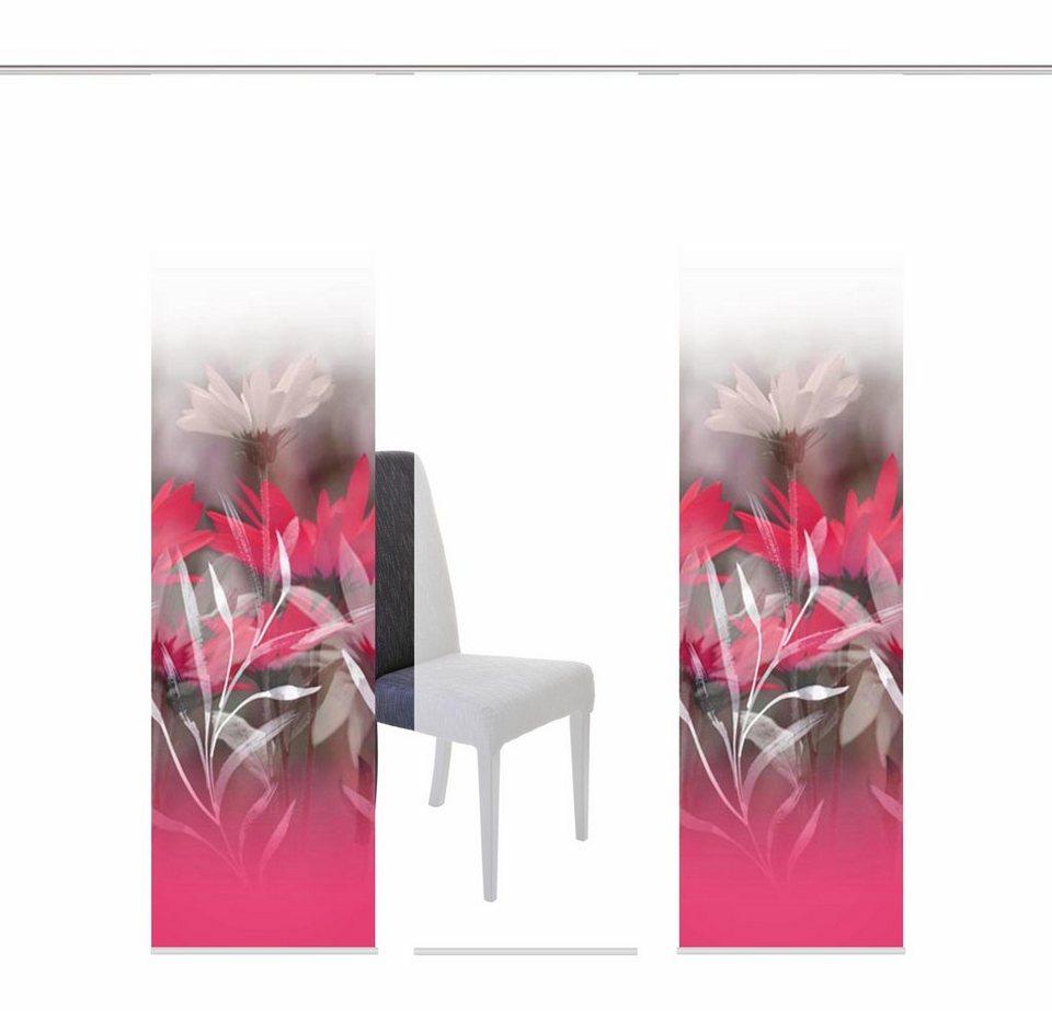 Schiebegardine, Home Wohnideen, »RISBUR«, mit Klettband, Mehrfachsets (mit Zubehör) in pink