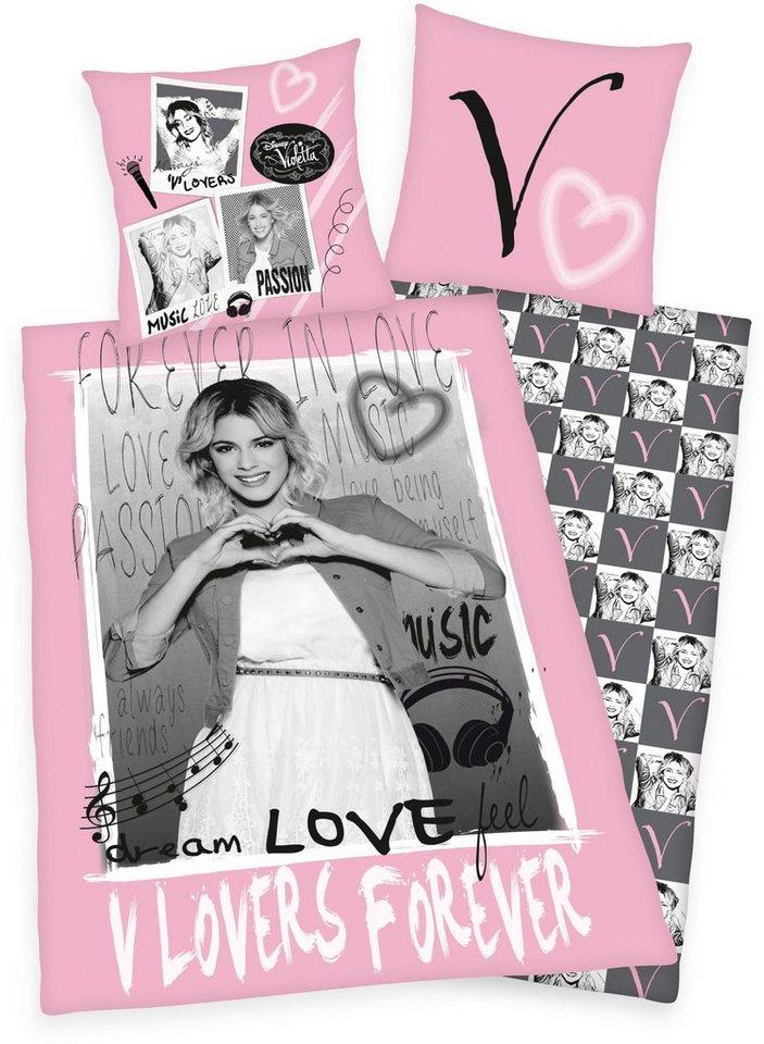 Jugendbettwäsche, Disney, »Love Violetta«, mit Foto-Motiv in rosa