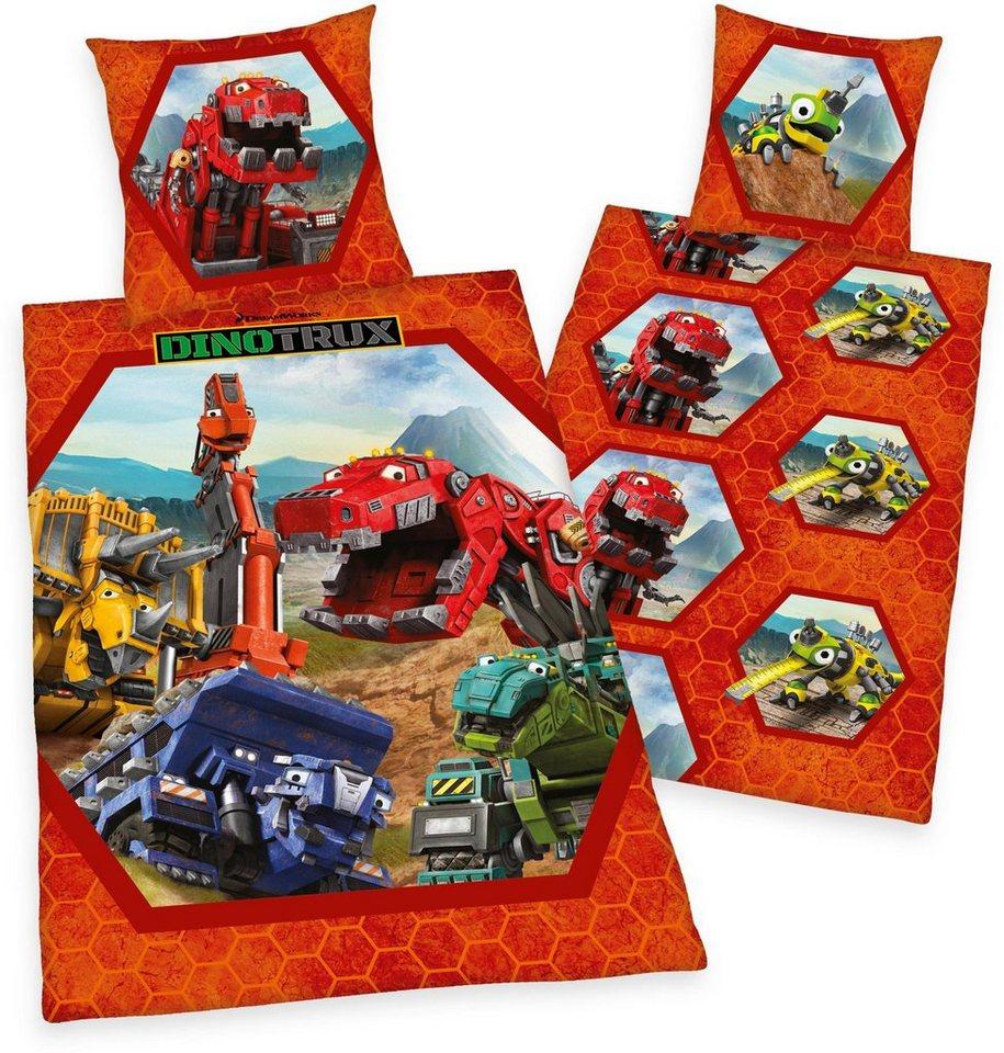 Kinderbettwäsche, DreamWorks, »Dinotrux«, mit Motiven in rot