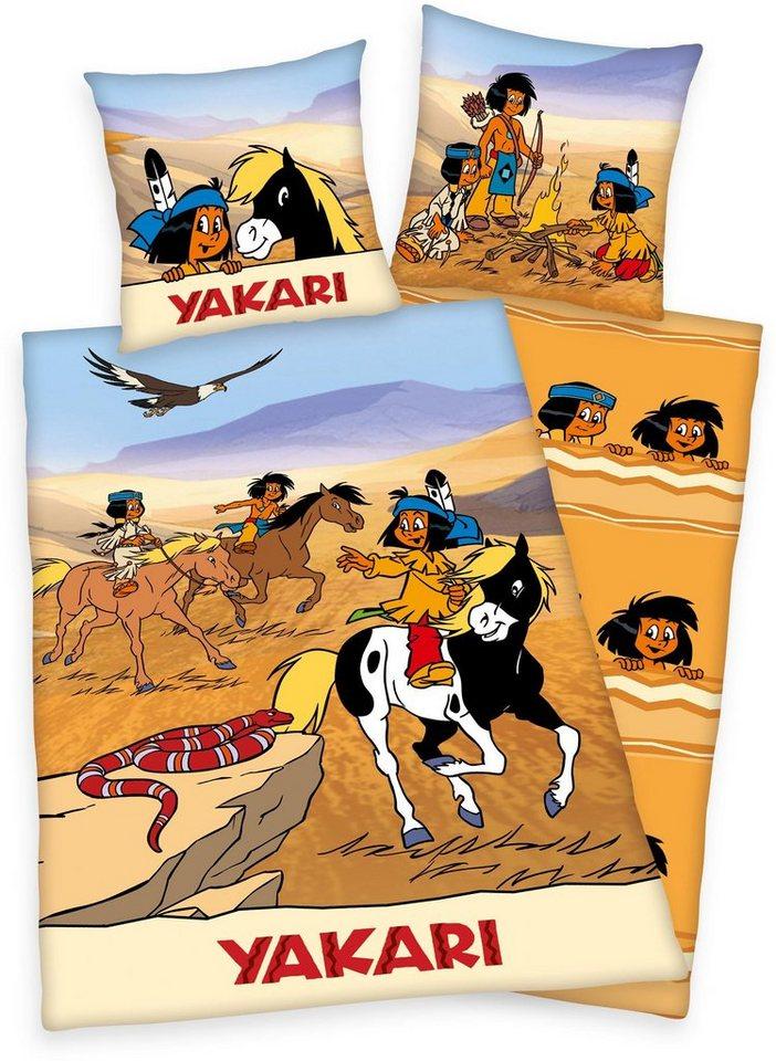 Kinderbettwäsche, Yakari, »Wüstenrennen«, mit Indianern in braun