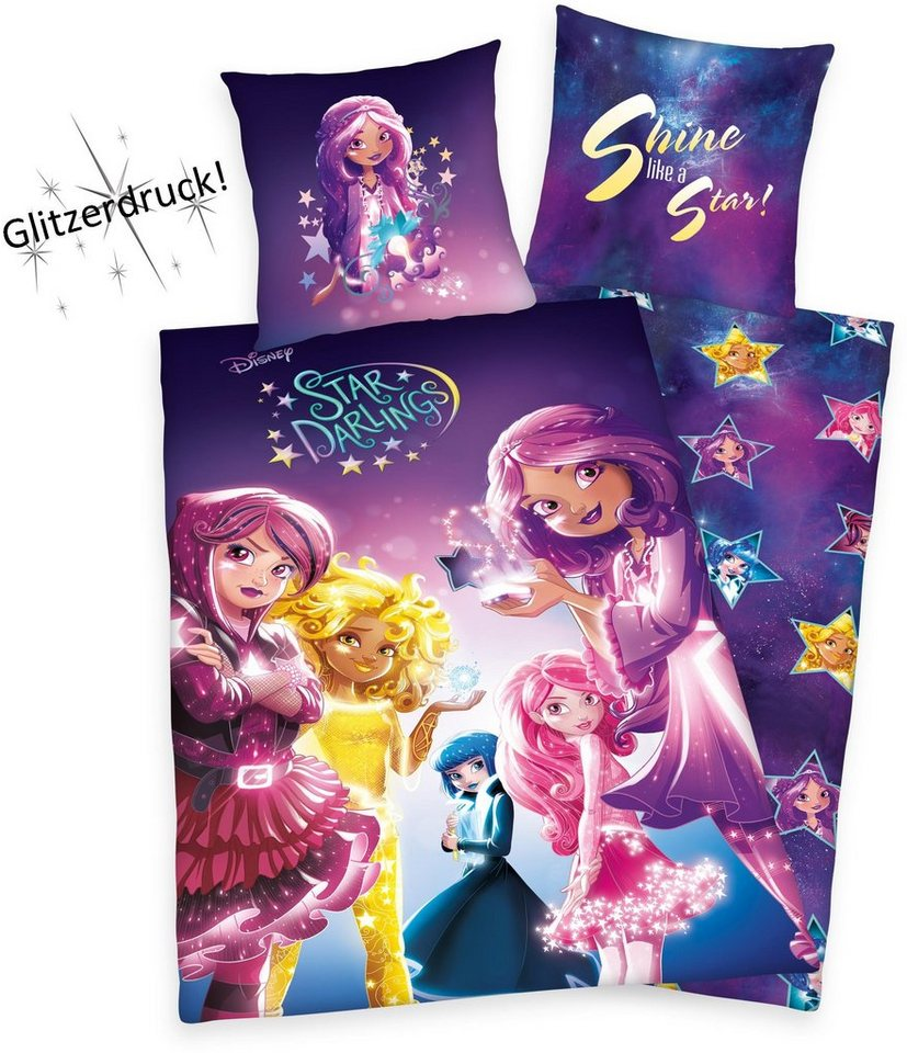 Kinderbettwäsche, Disney, »Star Darlings«, Glitzerdruck in blau-lila
