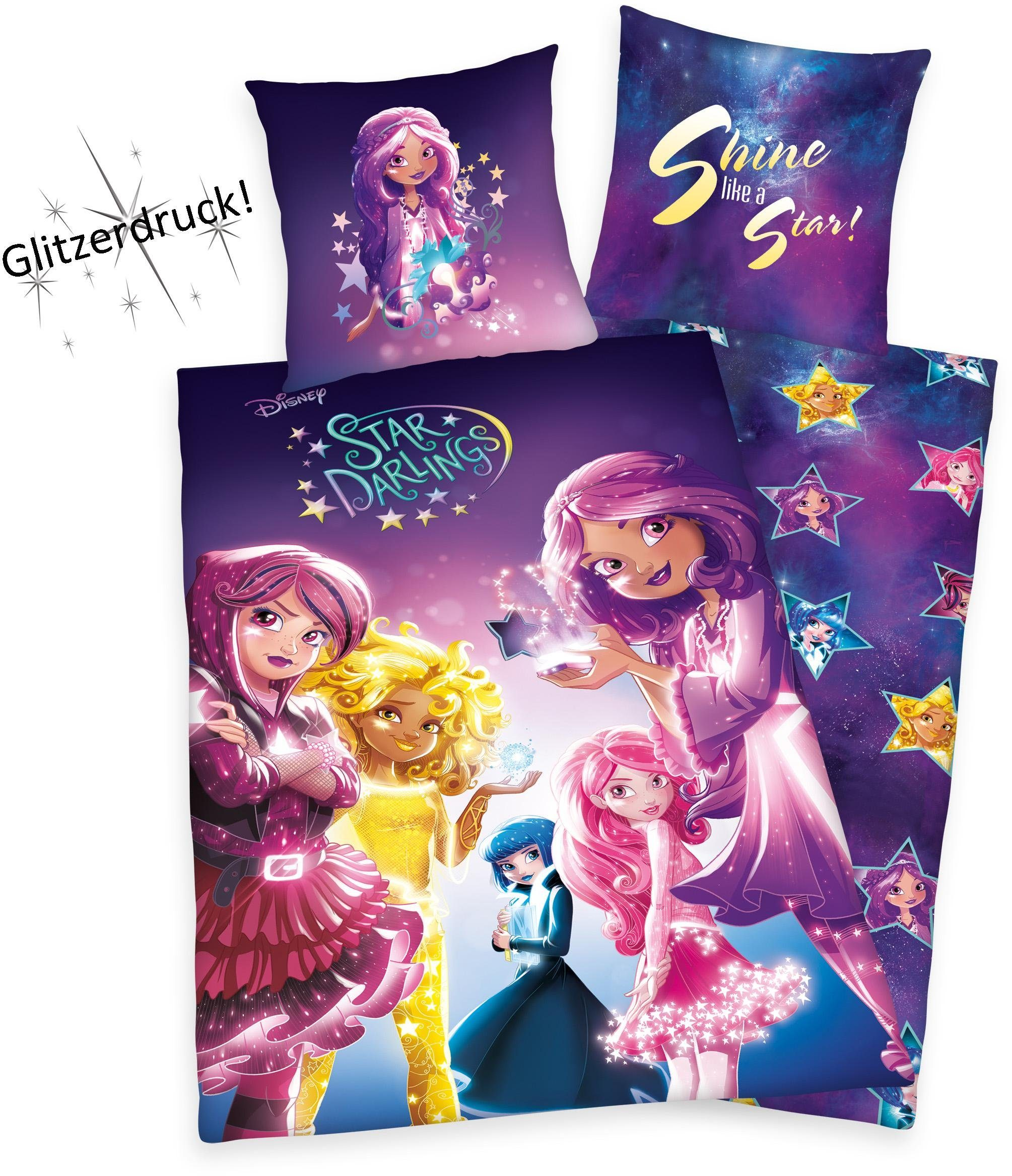 Kinderbettwäsche, Disney, »Star Darlings«, Glitzerdruck