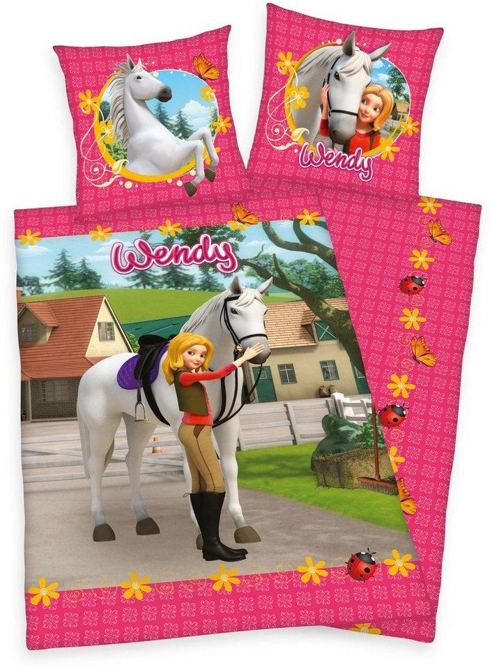 Kinderbettwäsche, Wendy, »Wendy & Pony«, mit Pferde Motiv in pink
