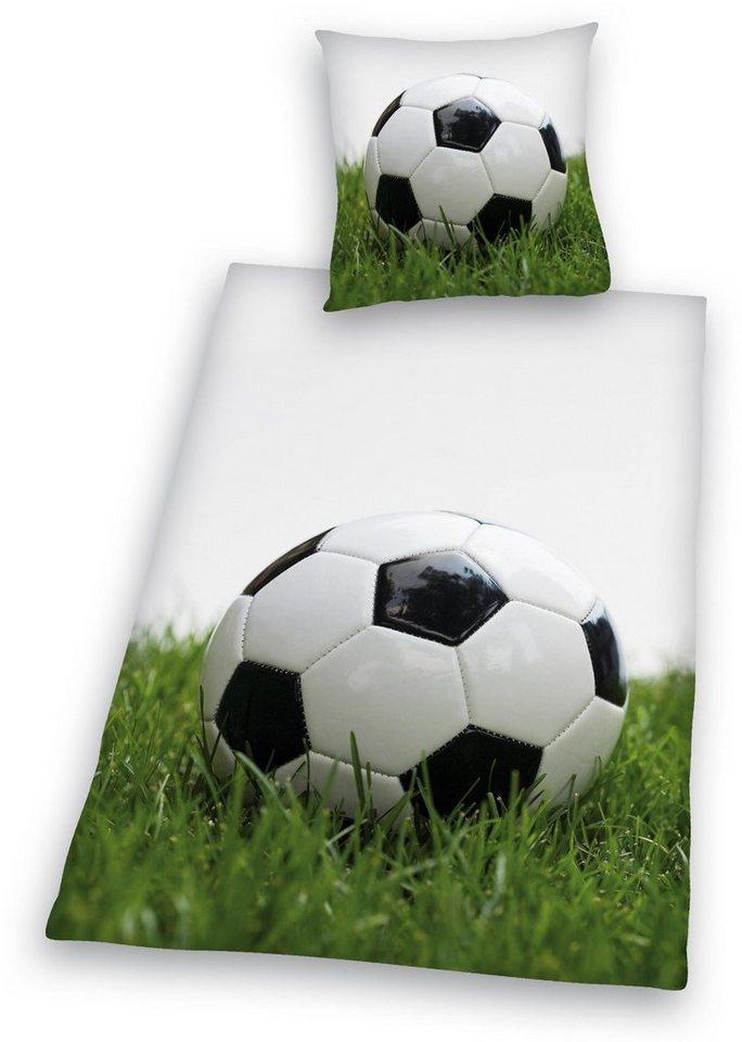 Bettwäsche, Young Collection, »Fußball«, mit Ball in weiß-grün