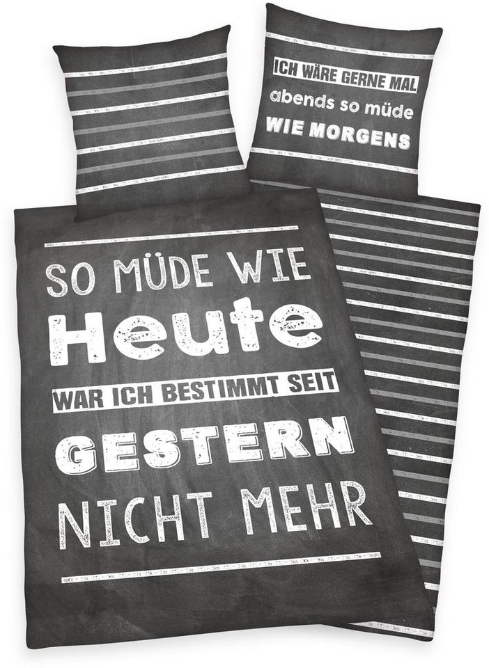 Jugendbettwasche Mude Young Collection Mit Spruch Online Kaufen