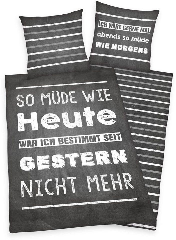 Jugendbettwäsche, Young Collection, »Müde«, mit Spruch in anthrazit