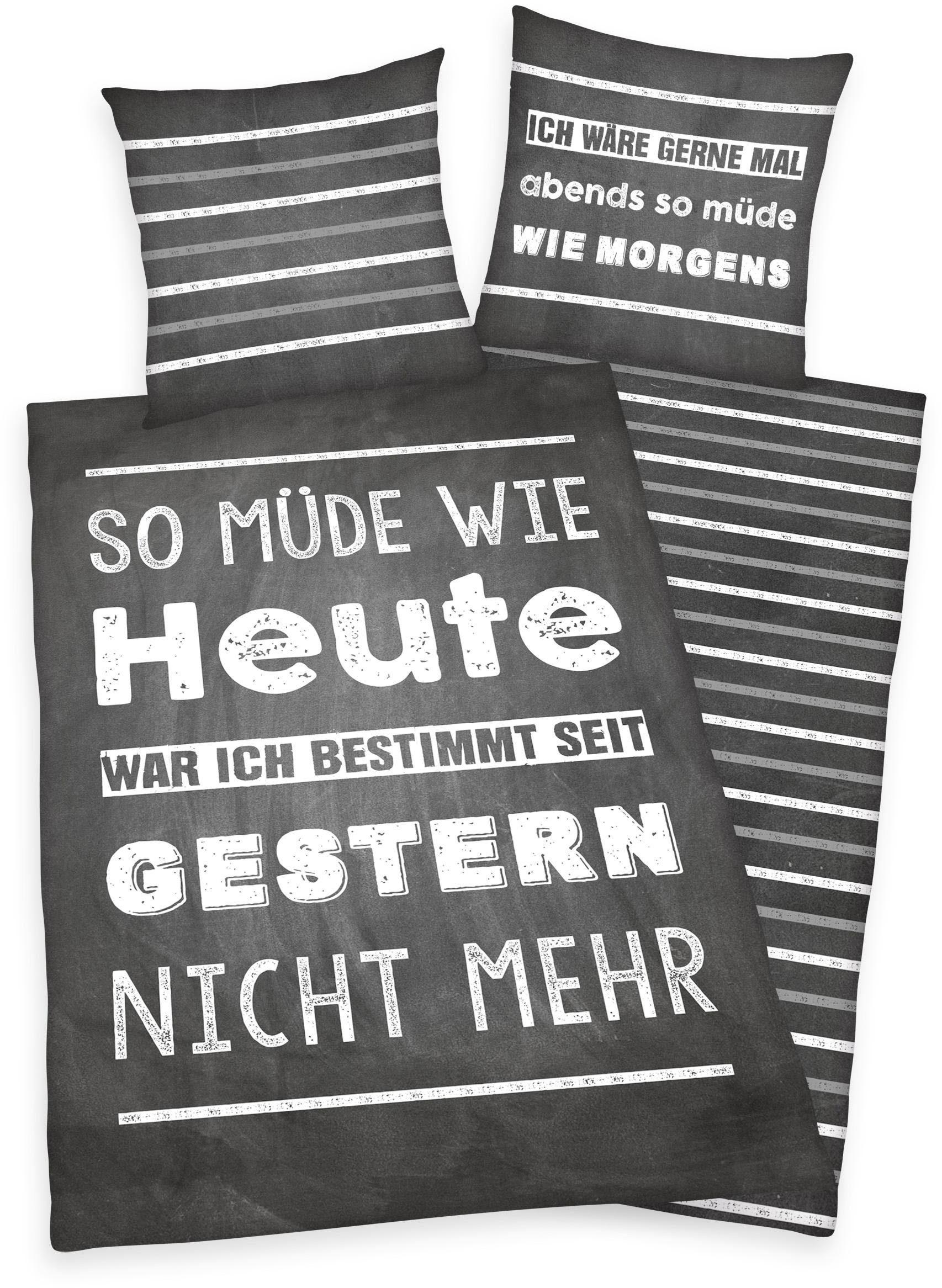 Jugendbettwäsche, Young Collection, »Müde«, mit Spruch
