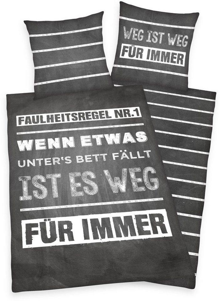 Jugendbettwäsche »Faulheit«, Herding Young Collection, Sprüche- und ...