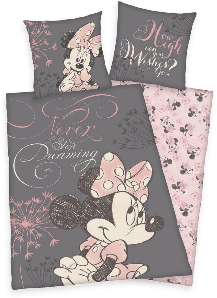 Kinderbettwäsche, Disney, »Minnie Mouse«, mit Porträt in rosa-taupe
