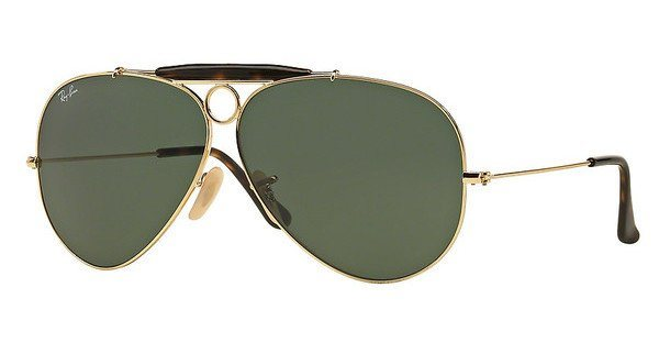 RAY-BAN Herren Sonnenbrille »SHOOTER RB3138« in 181 - gold/grün
